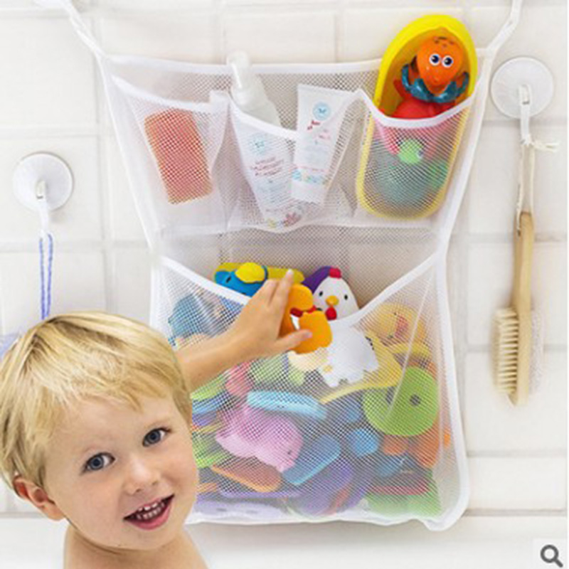 Baby Shower Letter Storage Bag Children's Kids Bathroom Toys Ocean Balls Wall Suction Cup Mesh Net Pocket Multi-function Wash