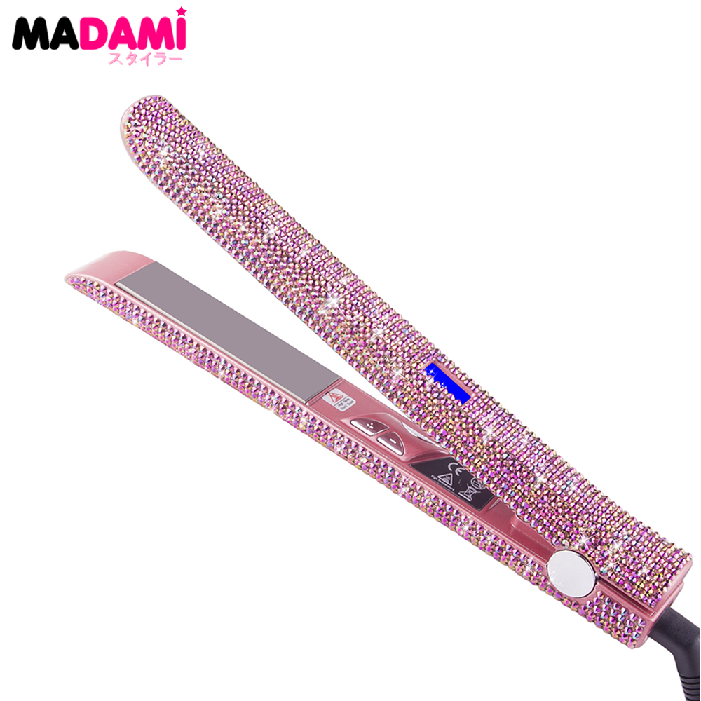 Madami LCD Display Hair Flat Iron Straightener 470F Titanium Floating Plate Rose Gold Crystal Rhinestone MCH