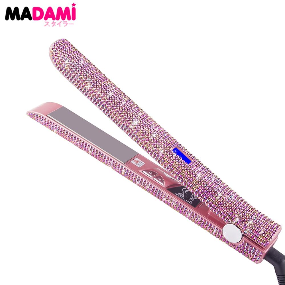 Madami 液晶ディスプレイ髪フラットアイロンストレイテナー 470F チタンフローティングプレートローズゴールドクリスタルラインストーン MCH 高速加熱鉄  グループ上の 家電製品 からの 矯正アイアン の中 1