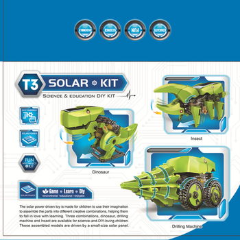 Solar toy robot diy assembled model dinosaur technology making 3 in 1 polymorph 5
