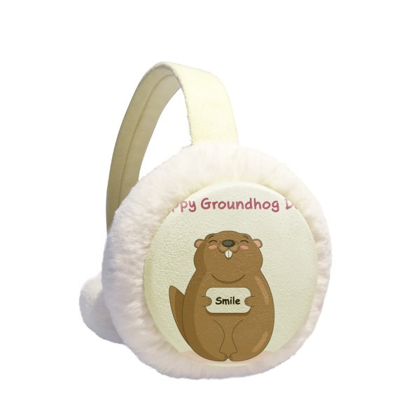 Happy Groundhog Day USA America Canada Festival Winter Earmuffs Ear Warmers Faux Fur Foldable Plush Outdoor Gift