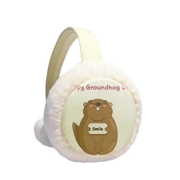 Happy Groundhog Day USA America Canada Festival Winter Earmuffs Ear Warmers Faux Fur Foldable Plush Outdoor Gift