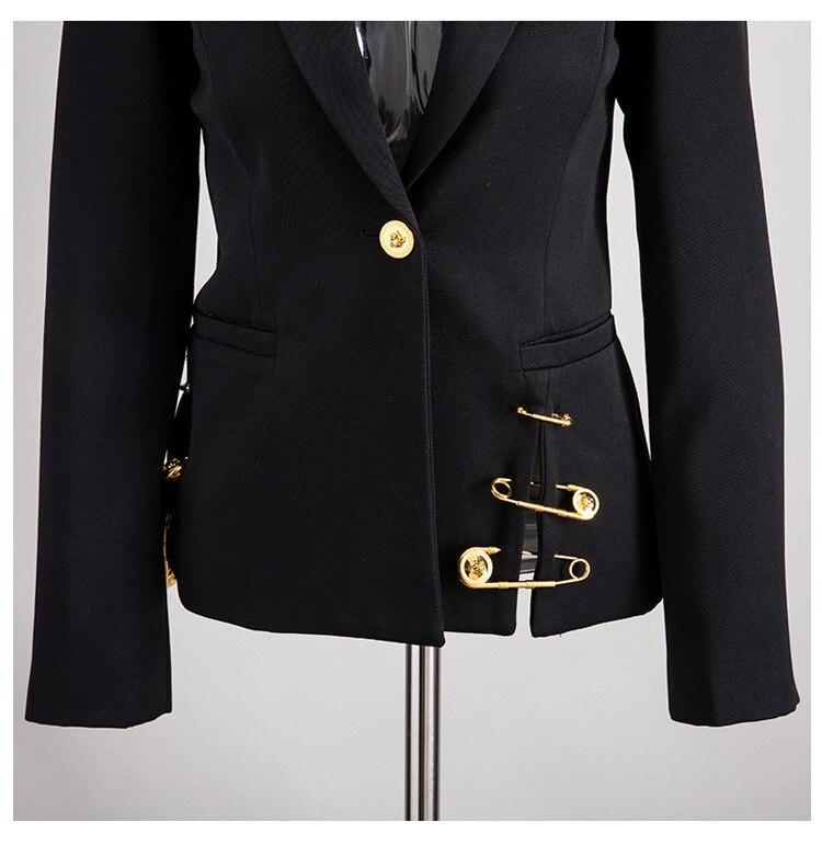 H603c1e02c5ad4f988fcff2ebd86fdd96X [EAM] Loose Fit Black Hollow Out Pin Spliced Jacket New Lapel Long Sleeve Women Coat Fashion Tide Autumn Winter 2019 JZ500