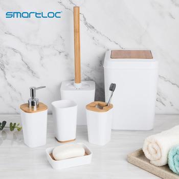 Smartloc 6 sztuk plastikowe akcesoria łazienkowe zestaw uchwyt na szczoteczki do zębów dozownik pasty do zębów przypadku mydelniczka prysznic toaletowy do przechowywania tanie i dobre opinie Z tworzywa sztucznego BPO-2706 Ekologiczne Zaopatrzony Sześć-częściowy zestaw