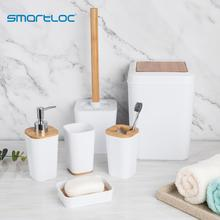 smartloc 6 pieces Plastic Bathroom Accessories Set Toothbrush Holder Toothpaste Dispenser Case Soap Box Toilet Shower Storage