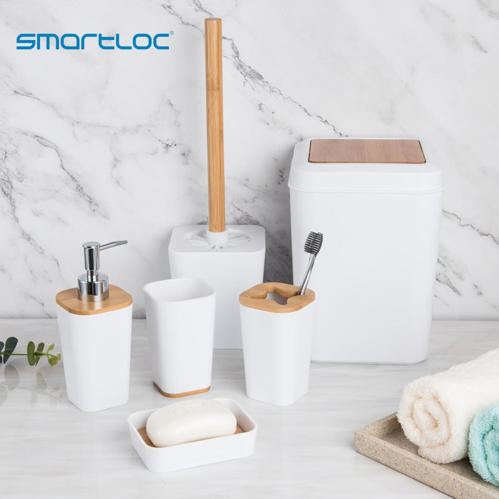 smartloc 6 pieces Plastic Bathroom Accessories Set Toothbrush Holder Toothpaste Dispenser Case Soap Box Toilet Shower Storage image