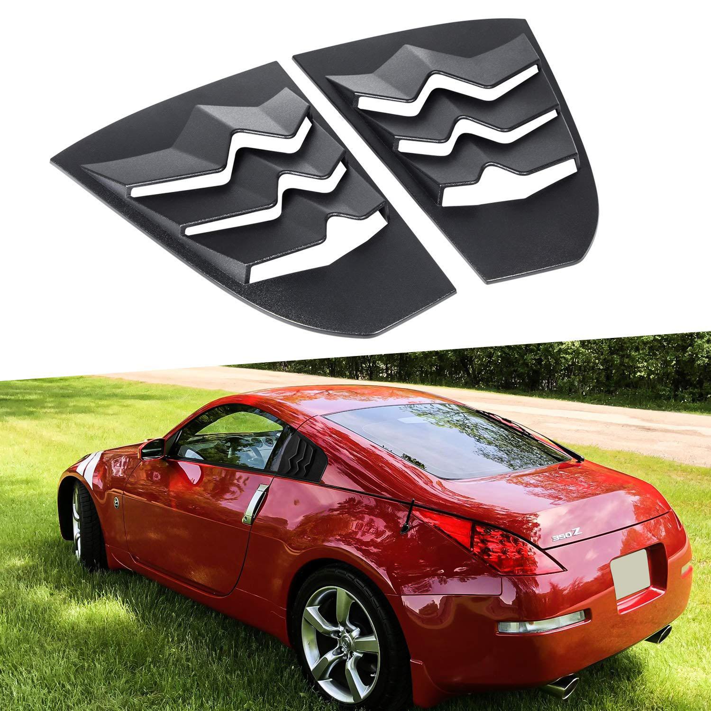 ChuangQian Black ABS Quarter Side Window Louvers Window Visor Sun Shade Cover Vent for Nissan 350Z 2003 2004 2005 2006 2007 2008