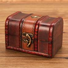 Pequeno armazenamento de jóias tesouro rústico caixa de madeira caixa vintage artesanal peito