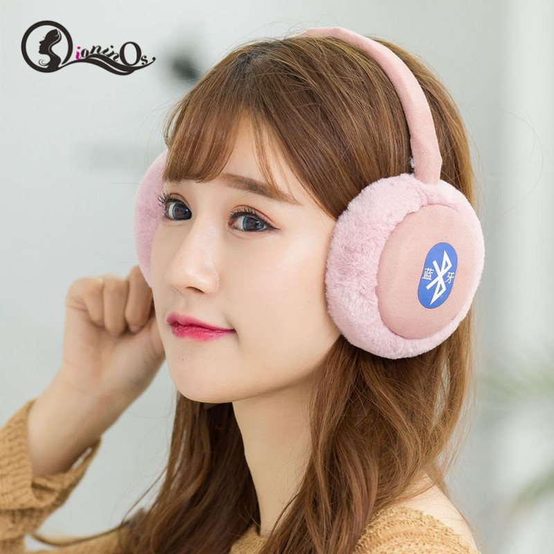 Plush Earmuff Headphones Headset Bluetooth Earphone Foldable Warm Bluetooth Earmuff Wireless Headphones