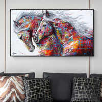 OUCAG Two Colorful Horse Running Painting Printed Wild Animal Waterproof Canvas Posters Wall Art Picture Living Room Decor