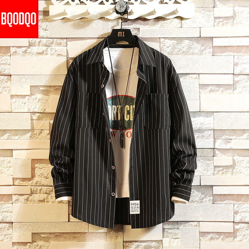 Stripe Long Sleeve Social Shirt Black Mens Fashion Korean Style Lapel Loose Casual Shirts Men Streetwear Clothing Tops Plus Size