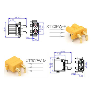 Image 5 - 100 x AMASS XT30PW Banana golden XT30 Upgrade Right Angle Plug Connector male female ESC Motor PCB board plug connect (50 Pair )