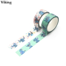 15mmX5m Stitch Cute Washi Tape DIY Masking Tape Adhesive Tapes Stickers Cartoon Character Decorative Stationery Tapes G0129 using the stationery washi tape to create these cute notebooks and to cover classic orange yellow pencils 12pcs set 15mmx5m