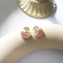 Pendientes de gota semiredondos para mujer y niña, joyería de moda, aretes de resina rosa y blanca, joyería dulce, regalos
