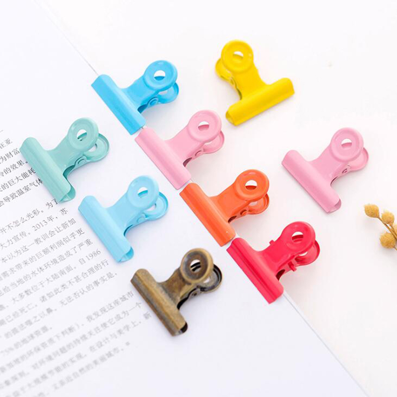 2pc Metal Color Binding Clip Pink Red Yellow Blue Paper Clip Note Letter Office Learning Stationery Supplies Folder Bill Clip