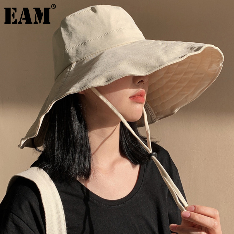 [EAM] Women Brige Big Size Adjustable Fishermen Hat New Round Dome Temperament Fashion Tide All-match Spring Autumn 2021 1DD8392