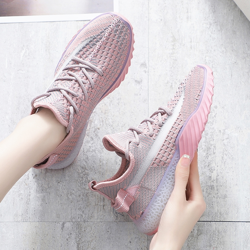 Mulher Vulcanizada Tênis Respirável Malha Rosa Plataforma Senhoras Sapatos Tendência Outono Grossos Feminino Planos