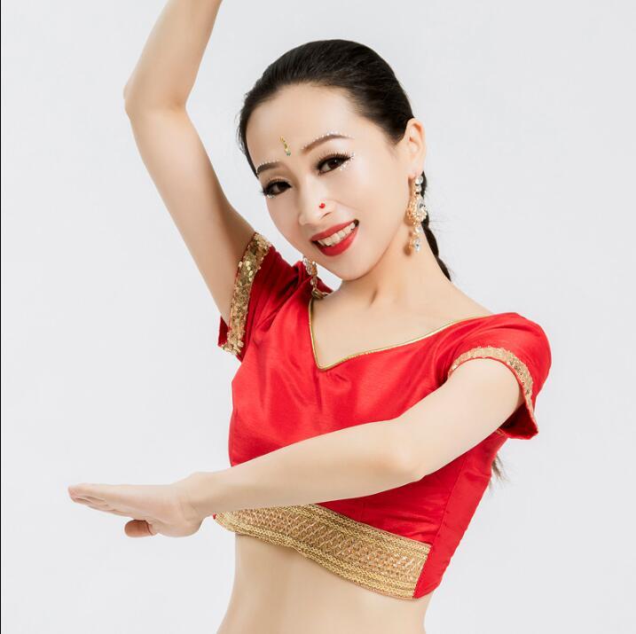 India Sarees Costume Ethnic Style Print Kurtas Woman Performance Dance Leng Ha Top