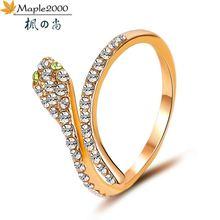 Женское кольцо в виде змеи Незамкнутое с мигающим цирконием