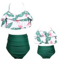 Summer Infant Baby Mom Family Matching Clothes Swimwear Straps Floral Kid Girls Bow knot Cute Soft Swimsuit Bikini Set
