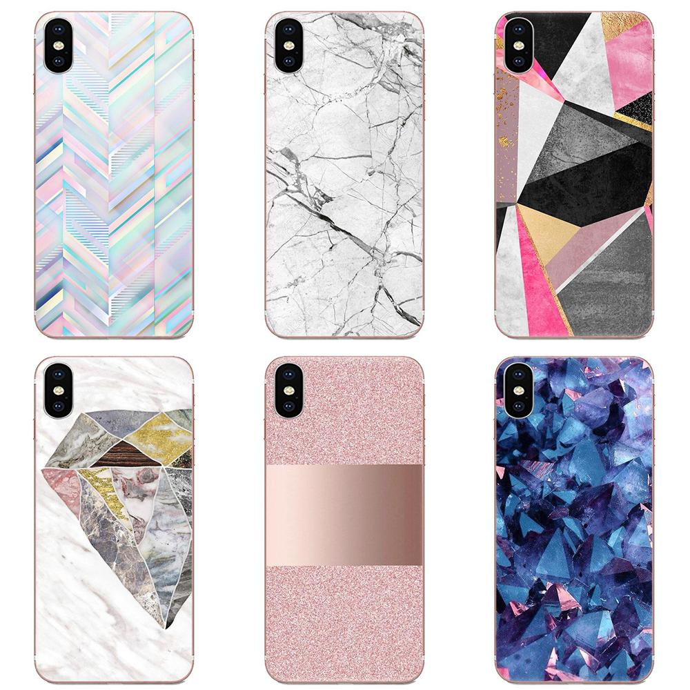 For LG K50 Q6 Q7 Q8 Q60 X Power 2 3 Nexus 5 5X V10 V20 V30 V40 Q Stylus Soft Cell Bags Pink Gold Marble Diamonds Patterned