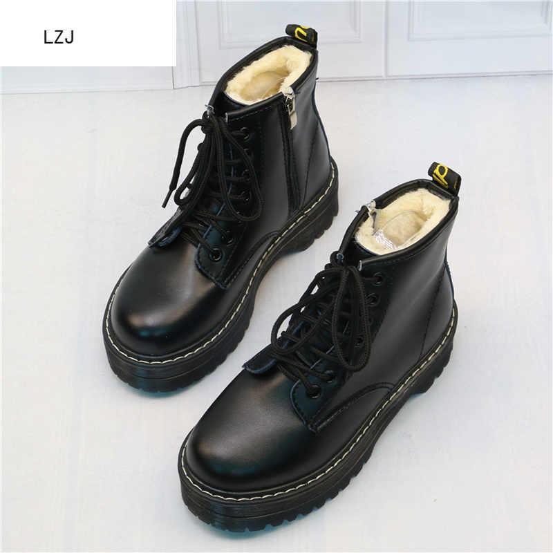 Kadınlar Düz Platformu yarım çizmeler Bahar Çizme Siyah Lace Up Siyah Orta Creepers Ayakkabı Moda Parti Ayakkabı Zapatos De Mujer