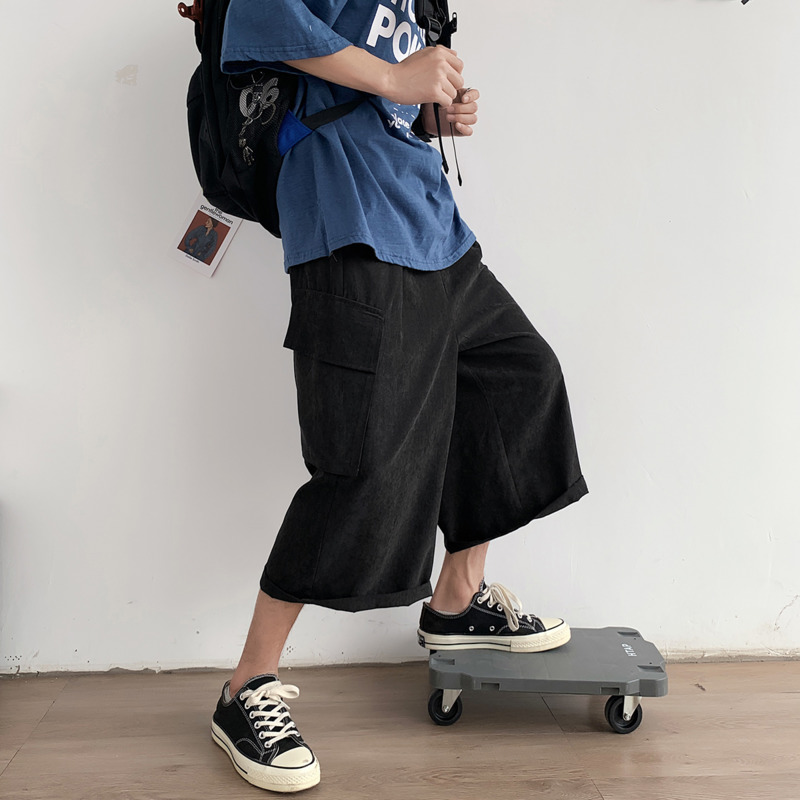 Summer Straight Pants Men's Fashion Solid Color Multi-pocket Overalls Men Streetwear Wild Loose Hip-hop Cropped Pants Mens M-3XL