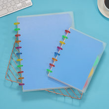 A5 Notebook Transparent PP Cover A4 Notepad High School College Student Classroom Record Mushroom Holes with Color Ring Buckle(China)