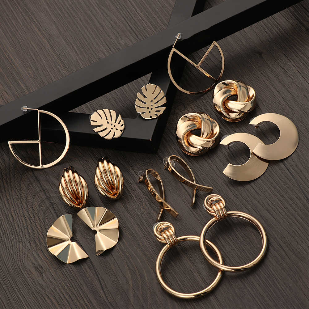 1Pair Fashion Retro Women Earrings Gold Silver Alloy Metal Geometric Irregular Stud Jewelry Elegant Simple Girl Gifts
