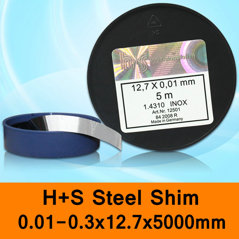 H+S Stainless Steel Shim DIN 1.4310 INOX H + S HS Mold Mould Spacer Filler Made In Germany 0.01-0.03x12.7x5000mm Original Pack