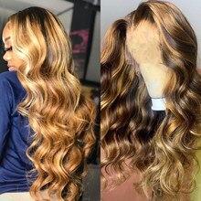 Perruque Lace Front Wig Body Wave brésilienne naturelle, cheveux sans colle, coloré, balayage blond miel, 30 pouces, Full Hd, pour femmes