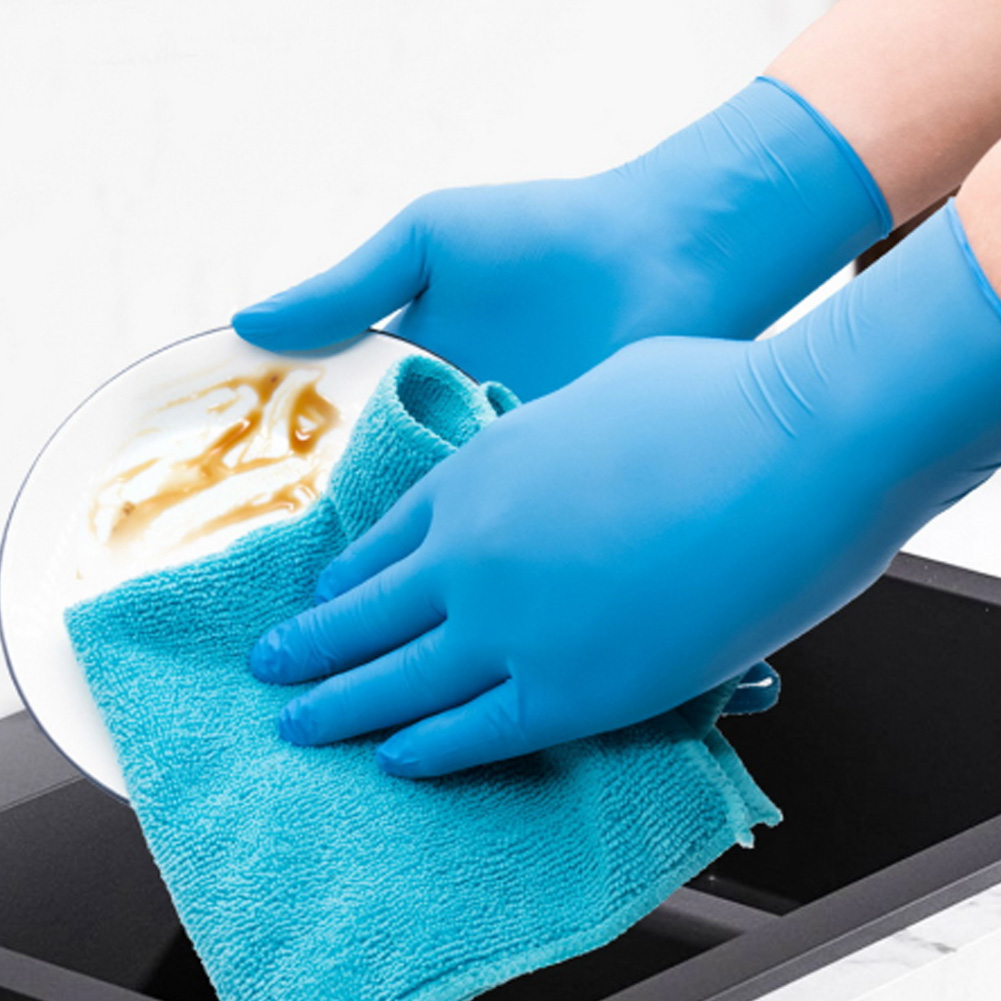 100PCS Disposable Gloves Non Latex Non Vinyl Nitrile Disposable Ultra-thin Gloves Grade for hygiene areas Size M L XL