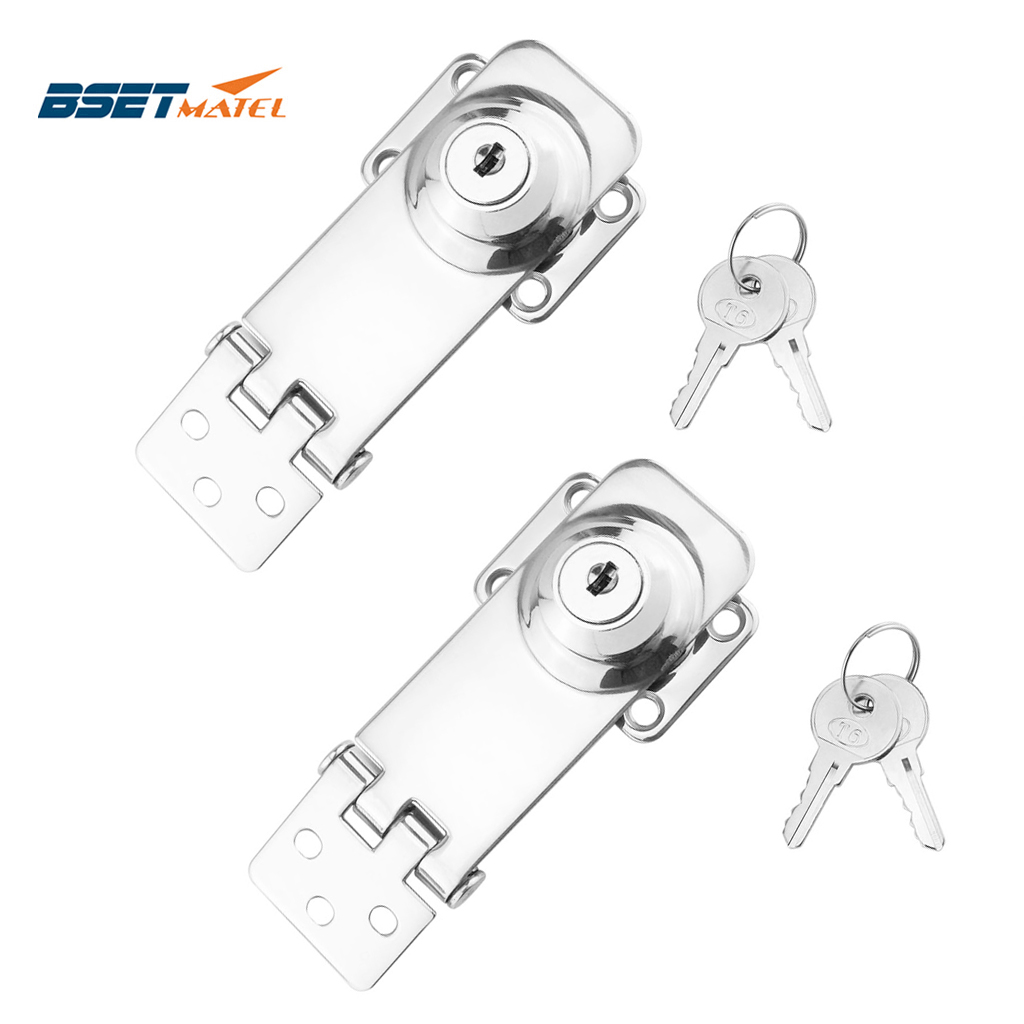 2PCS Marine <font><b>Boat</b></font> SS 304 Locking Hasp Safety Lock Hatch Cabinet Door Cabin Deck Locker Hatch <font><b>Latch</b></font> yacht accessories image