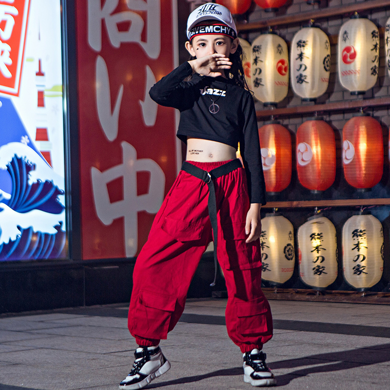 Jazz Dance Costumes Girls Loose Street Dance Performance Clothing Hip Hop Stage Rave Outfit Kids Practice Dancing Wear DC3781
