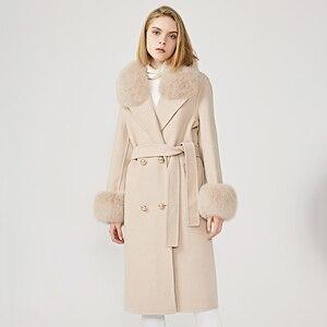 Image 4 - ผู้หญิงเสื้อขนสัตว์ฤดูใบไม้ผลิจริงฟ็อกซ์ขนสัตว์เสื้อขนสัตว์เอวSlimสุภาพสตรียาวOvercoat