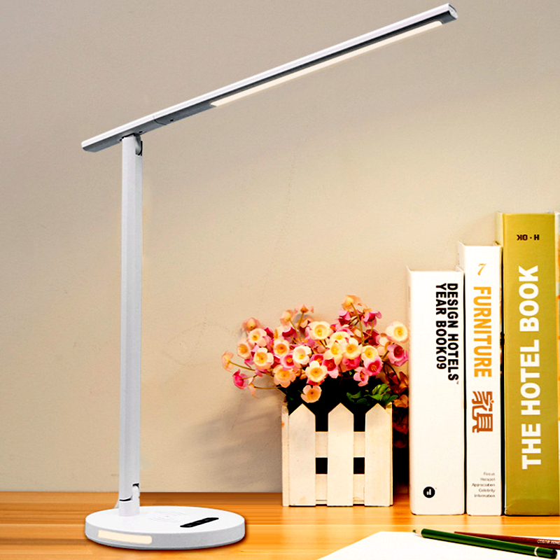 Folding LED Table Lamp Dimming Desk Lamp Eye-Protection Book Light Qi Wireless Charging For Mobile Phone 3 Color Modes
