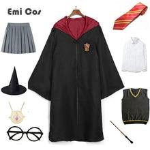 Masculino feminino cosplay potter traje mágico manto capa terno gravata cachecol godric presente festa uniforme traje de halloween
