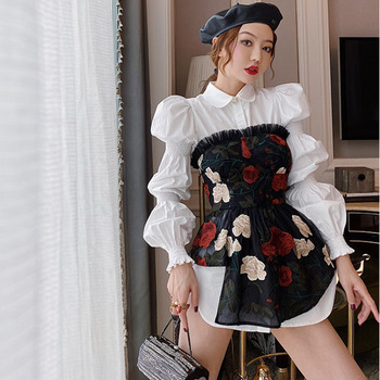 2020 Spring Autumn New Solid Sweet Puff Sleeve Pleated Moonlight White Blouse Embroidered Flower Mesh Sexy Tube Purell Shirt Top plus embroidered mesh insert pleated sleeve bardot dress