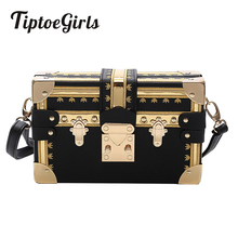 Fashion Box Women Bag Rivets Messenger Bags Small Square Girls Shoulder 2018 New Female Packages