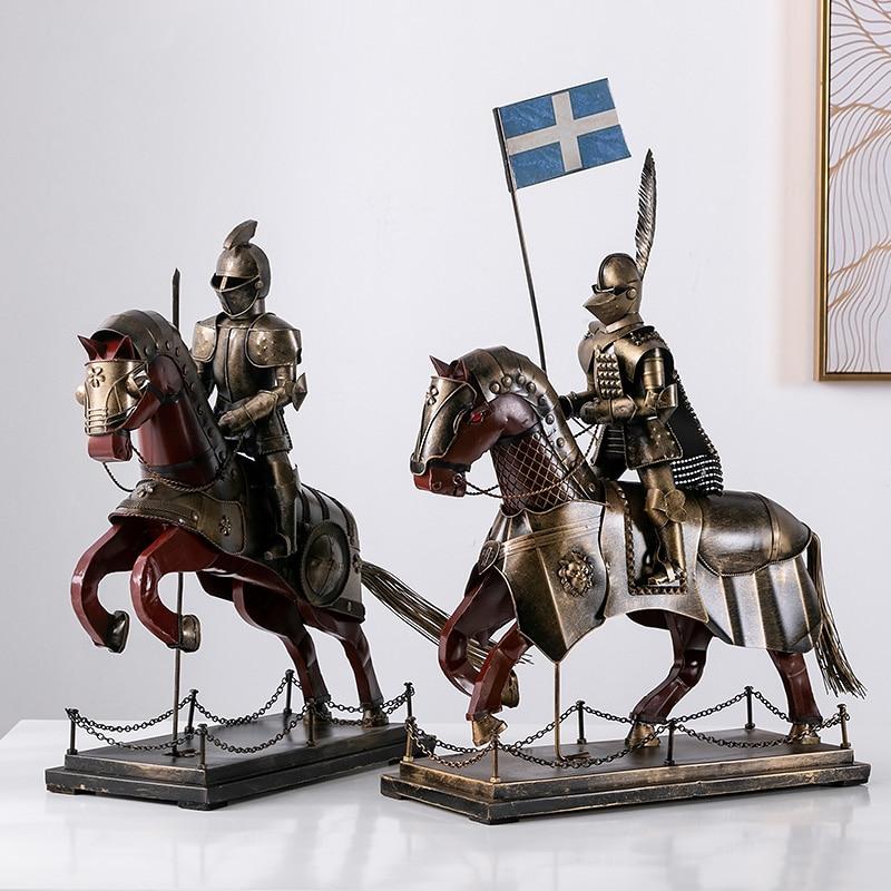 Européen médiéval romain armure homme soldat modèle rétro chevalier Sculpture Statue décoration bureau maison artisanat Figurine ornement