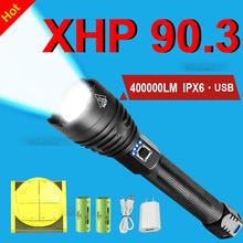 400000 blask XHP90 3 najbardziej potężne latarka LED 18650 lub 26650 latarka LED na USB XHP90 XHP70 XHP50 2 latarnia na polowanie lampa ręczna tanie tanio paweinuo CN (pochodzenie) Odporna na wstrząsy Do samoobrony Regulowany FHS522 FHS317 500 metrów Camping Fishing hunting Working Portable