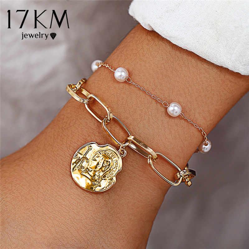 17KM moda perły monety para Charm bransoletka dla kobiet Punk Twist złoto srebro bransoletki bransoletki 2019 Korea biżuteria prezenty