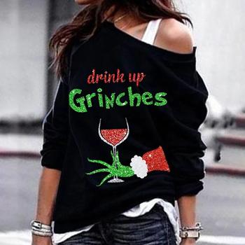 Świąteczna bluza z długim rękawem z jednym ramieniem luźny krój nadrukowane litery wokół szyi bluza damska Top ALS88 tanie i dobre opinie Swokii CN (pochodzenie) WOMEN Oddychające Pasuje prawda na wymiar weź swój normalny rozmiar