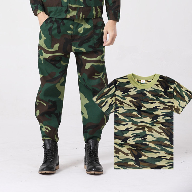 Anti-Open Crotch Work Pants Spring And Autumn Labor Safety Camouflage Pants Men's Camouflage Short Sleeve Outdoor Sports Militar