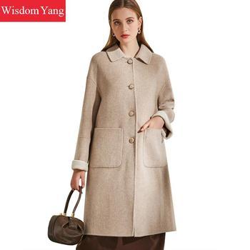 Winter Trench Woolen Coat Outerwear Womens Beige Winter Wool Fleece Jacket Cashmere Long Coat Ladies Jackets Autumn Overcoat