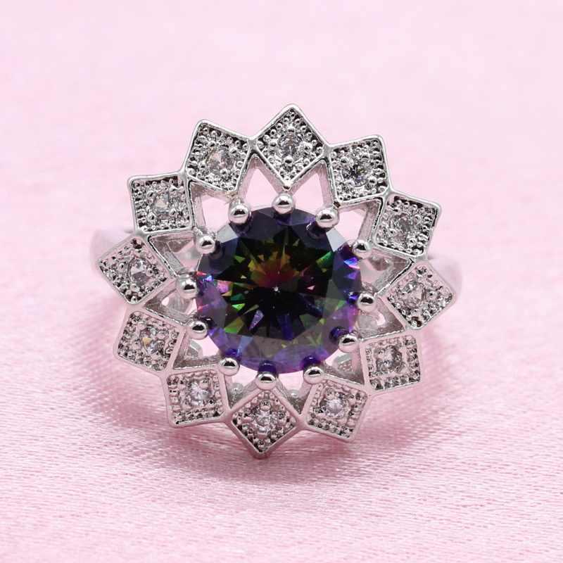 Rainbow Cubic Zirconia 925 เงินชุดเครื่องประดับสำหรับงานแต่งงานดอกไม้ประณีตรูปต่างหูจี้สร้อยคอสร้อยข้อมือ