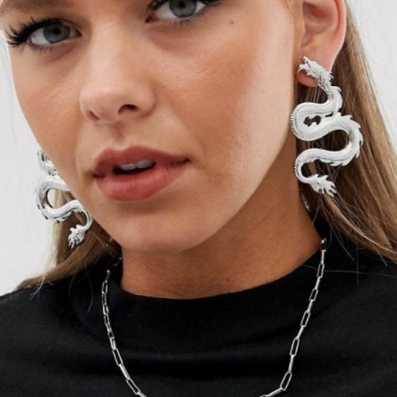Punk Dragon Stud Earrings For Women 2020 Original Metal Fiery Dragon Statement Long Earrings Jewelry Femme Bijoux