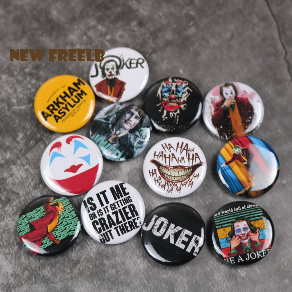 NEW FREELB 12pcs/set 1Inch DC Comic Movie Superhero Joker Merch <font><b>Pin</b></font> <font><b>Buttons</b></font> Brooches Badges Pinback Batman Accessoires for fans image