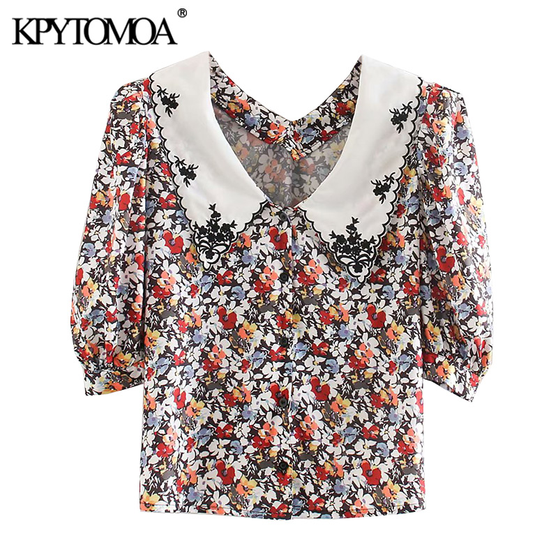 KPYTOMOA Women 2020 Sweet Fashion Floral Print Buttoned Blouses Vintage Peter Pan Collar Short Sleeve Female Shirts Chic Tops