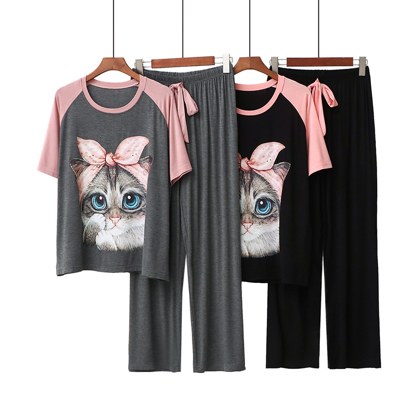 Kawaii Casual Cartoon Print Women's 2 Piece Set Modal Homewear Loose Cute Atoff Home Cloth Suit Female Pajamas Set Sleepwear